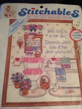 "Dimensions Stitchables Cross Stitch Kit 72135 ""POWDER ROOM REMINDER Kitchy 1993"