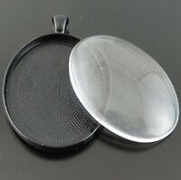 Black Plated Oval Cameo Pendants With Glass Cover Charms Crafts Kit 5Sets Dangle