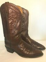 DAN POST Cowboy Boots Brown Leather Western Men's Size 12 EW Slip On Pointed Toe