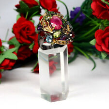 REAL 7 X 11 mm. OVAL RED RUBY PERIDOT TOPAZ DIOPSIDE AMETHYST...RING 925 SILVER