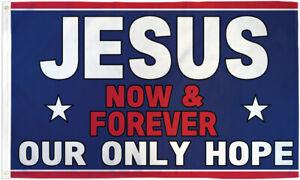 Jesus Now & Forever Flag 3x5 Religion Flag Christianity House Flag Cross Flag