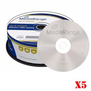 MediaRange Branded 800MB Blank CD-R Discs 90 Minutes MR221 - Pack of 5