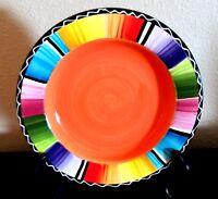 Certified International Serape Nancy Green Salad Plate Multicolor Bands Orange