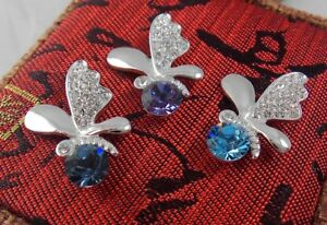 Solid 925 Sterling Silver Butterfly Pendant made with Swarovski Crystal