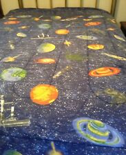 Outer Space Planets Ships Stars Blue Cotton Blend Reversible Comforter Sz Twin