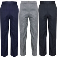 Boys School Uniform Full Length Trousers Pull Up Teflon Elasticated Waist Grey