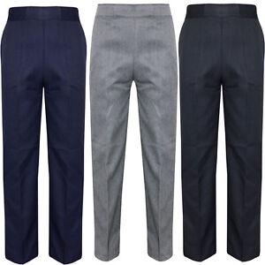 Boys School Uniform Full Length Trousers Pull Up Teflon Elasticated Waist Grey