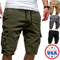 Men Casual Chino Cargo Shorts Pants Multi Pockets Summer Beach Trousers Fashion