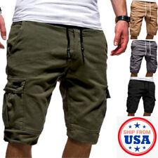 Men Casual Chino Cargo Shorts Pants Multi Pockets Summer Beach Trousers Fashion