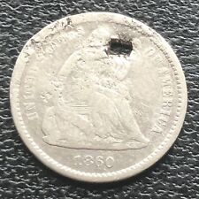 1860 O Seated Liberty Half Dime 5c New Orleans RARE Better Grade Holed #11599