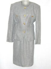 VTG Saville Suit Gray/Charcoal Houndstooth Check Rayon Skirt Suit 6 Made in USA!