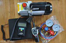 HVAC Professional Tool Kit:Deep Vacuum Pump+Manifold+Leak Detector+Digital Scale