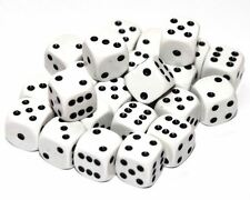 24 White Dice, (six sided), 16mm , D6