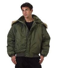 Black / Sage Men's Tactical Winter Coat -  Military N-2B Flight Jacket / XS-3XL