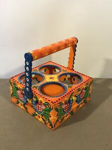 Multicolour Wooden Handcrafted and Handpainted Glass Holder Glass Stand for Home