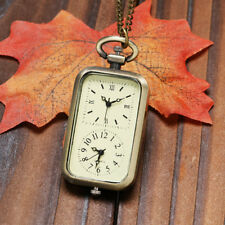 Retro Rectangle Double Time Zone Women Quartz Pocket Watch Pendant Chain Xmas