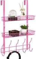 Pink Over The Door Metal Storage Shelf Coat Hook Rack Organizer Bathroom Office