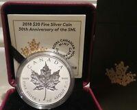 2018 Canada's Silver Incuse Maple Leaf 30th Anniversary $20 1OZ Silver Coin SML