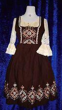 Rose Dirndl Vintage braun bestickt 38/40 Set + Schürze + Bluse Plauener Spitze