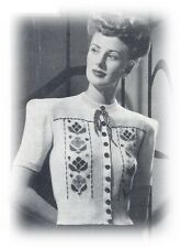 Ladies' 1940s 3 Ply ShortSleeved Tyrolean Cardigan Knitting Pattern Instructions