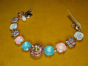 MARIANA BRACELET SWAROVSKI CRYSTALS FLOWER BLUE AQUA PINK MULTI COLOR Rose Gold