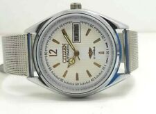 Dial Made Japan Watch Run Order Citizen Automatic Men Steel Plated Vintage White
