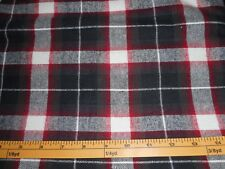 NEW UNCUT BLACK RED FLANNEL SHIRTING FABRIC 100% COTTON 3 YARDS X 42 INCH WIDE