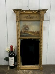 Antique Federal Split Column Mirror W/Reverse Painting Church In The Country