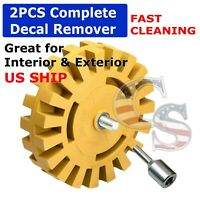 """4"""" Car Decal Removal Eraser Wheel w/ Rubber Power Drill Adapt0er Sticker Remover"""