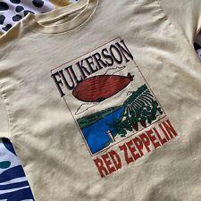Vintage 90's Fulkerson RED ZEPPELIN Wine Shirt Size L Led Zeppelin Rip New York