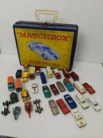 VINTAGE 1960's MATCHBOX LESNEY 33 CAR LOT INCLUDING CARRY CASE