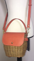 NEW Tommy Bahama Rattan Wicker Coral Leather Satchel Handbag Purse Crossbody 8""