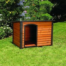 Outdoor Dog House Large 45x33x32 Raised Log Cabin Wood Shelter Weather Resistant