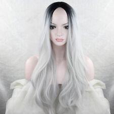 """Populaire Femme Noir Gris Ombre Full Wig 26 """"Wavy résistant à la chaleur Fibre"""
