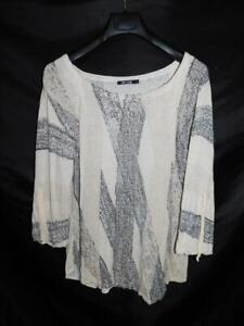Nic + Zoe XL Beige Gray Dot Stripe Sweater Boat Neck Tie Sleeve Linen Knit XL