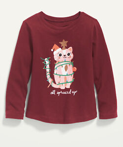 Old Navy Toddler Girl ~ Christmas Cat with Lights  ~ Long Sleeve T-Shirt Size 2T