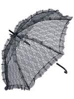 Victorian Steampunk Black Lace Parasol Umbrella Fancy Dress Accessory Prop New