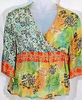Coldwater Creek petite large silk blouse orange green gold V neck 3/4 sleeve