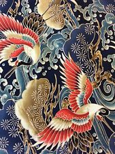 RPFTP018E Asian Chinese Japanese Exotic Crane Bird Cloud Cotton Quilt Fabric