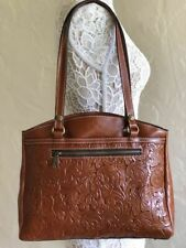 Nwt Patricia Nash Poppy Tooled Leather Brown Florence Tote Purse Shoulder Bag