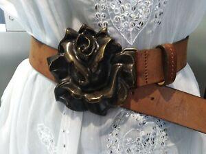 """❤️AS NEW❤️vintage DIESEL 36"""" M L  tan brown WIDE leather rose metal buckle belt"""