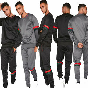 JYO  Black and Grey With Red & Green Striped (2472)Crew Neck Tracksuit