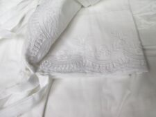 HILLCREST Cottage White Embroidered Floral Scalloped Lace 2 Pillowcases - King