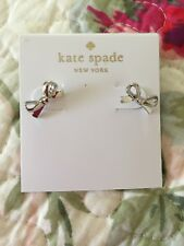Kate Spade Statement Silver Skinny Mini Bow Tie Stud Earrings So Cute!