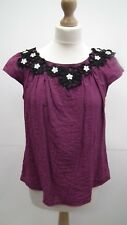 Purple Crinkle Top with Heavy Black Detailling fom River Island size12