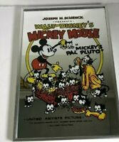 "Vintage Schenck Walt Disney Mickey Mouse ""Mickey's Pal Pluto"" Mirror Art 18x12in"