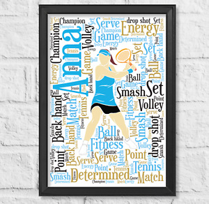 Personalised Tennis Gift Birthday Leaving For Her Gift Word Art Christmas