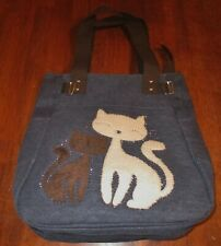 Super Cute CAT Embellished Purse/Tote/Handbag Fuzzy Soft Cats & Crystals Blue