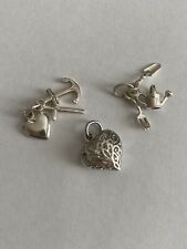 925 Sterling Traditional Charms For Bracelet. Heart, Gardening, Cross, Anchor.