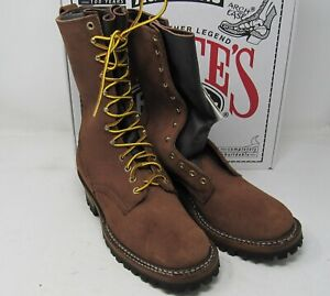 "White's Boots, 400-V. Elk tan R, O. 9 D, 10"". Vibram Soles."